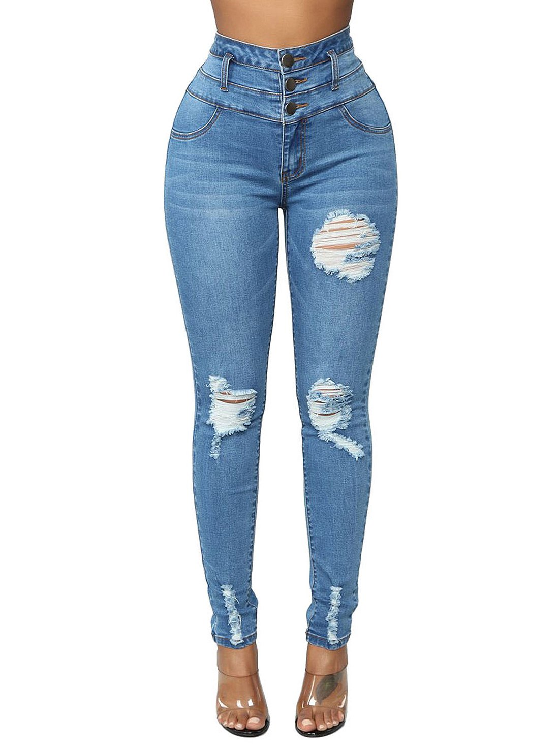 Ripped Denim Jeans Pants