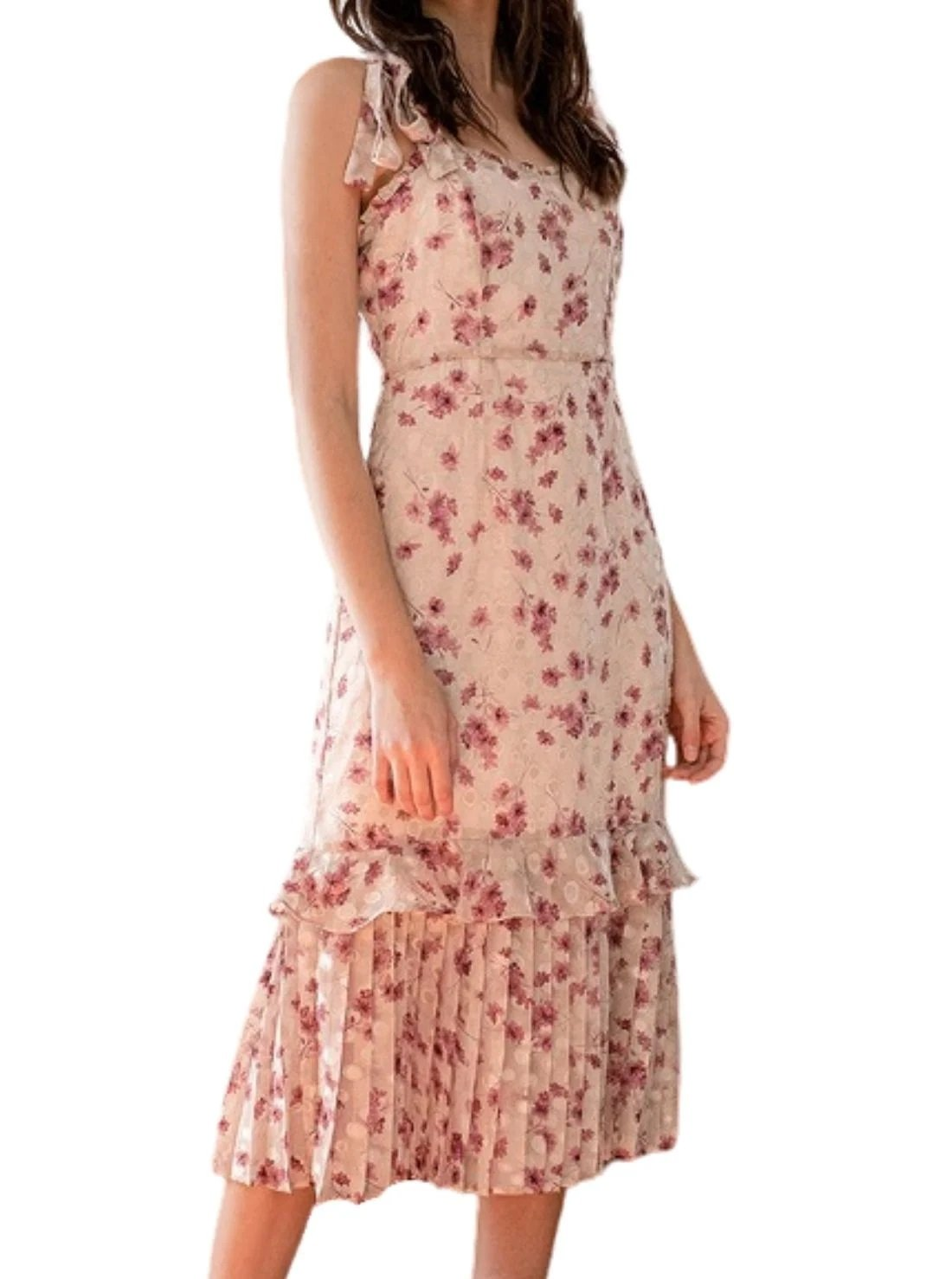 Taupe Floral Print Tiered Summer Midi Dress