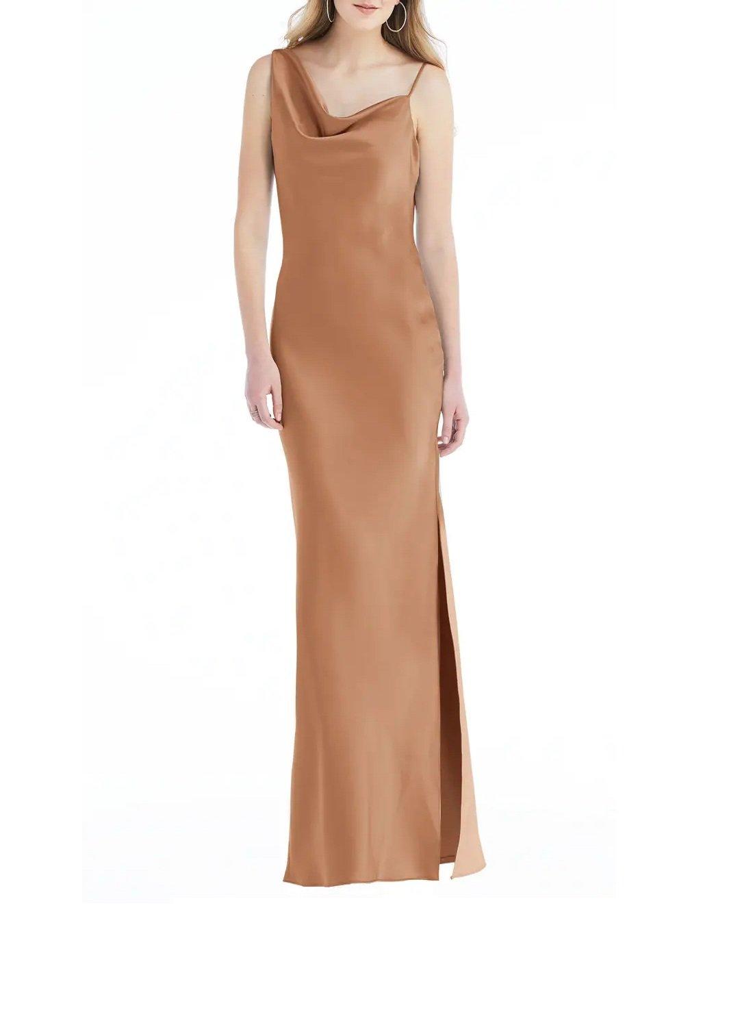 Asymmetric One-Shoulder Satin Column Gown