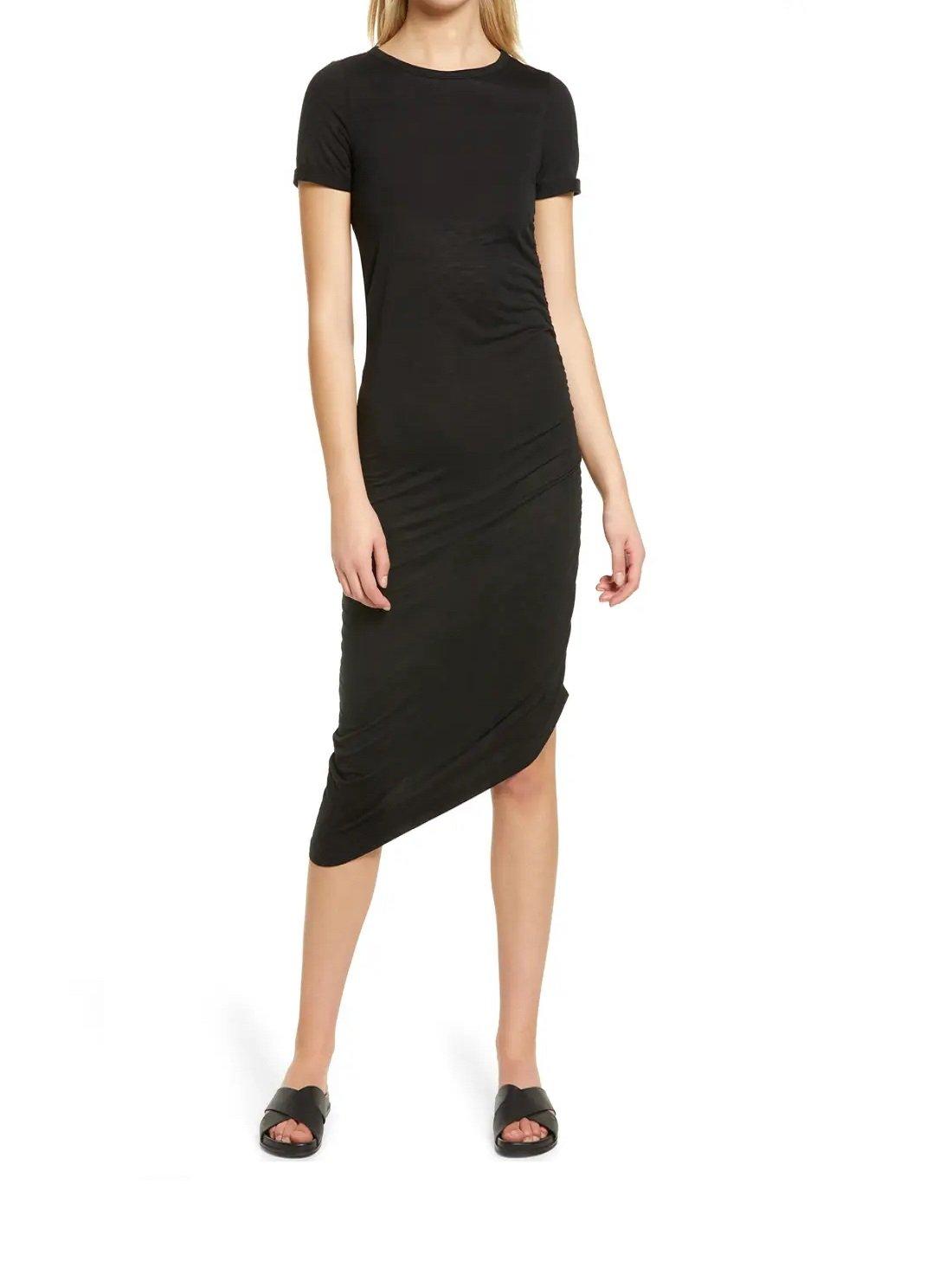 Asymmetrical Ruched T-Shirt Dress