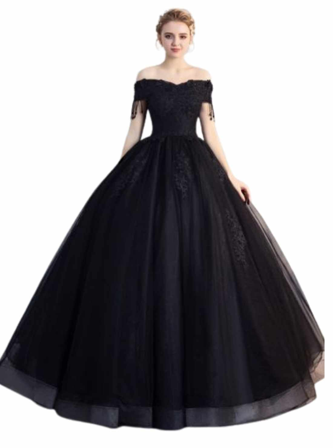 Black Puffy Prom Dresses Ball Gown Lace Flower Beading Pearl Tassel Off-The-Shoulder Backless