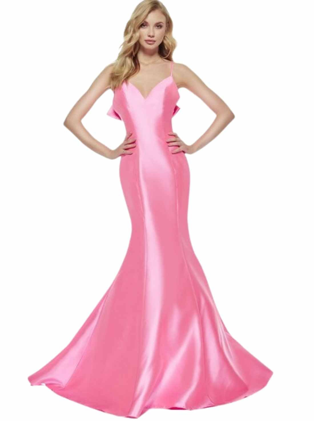 Bow Back Formal Pink Gown Prom Dress