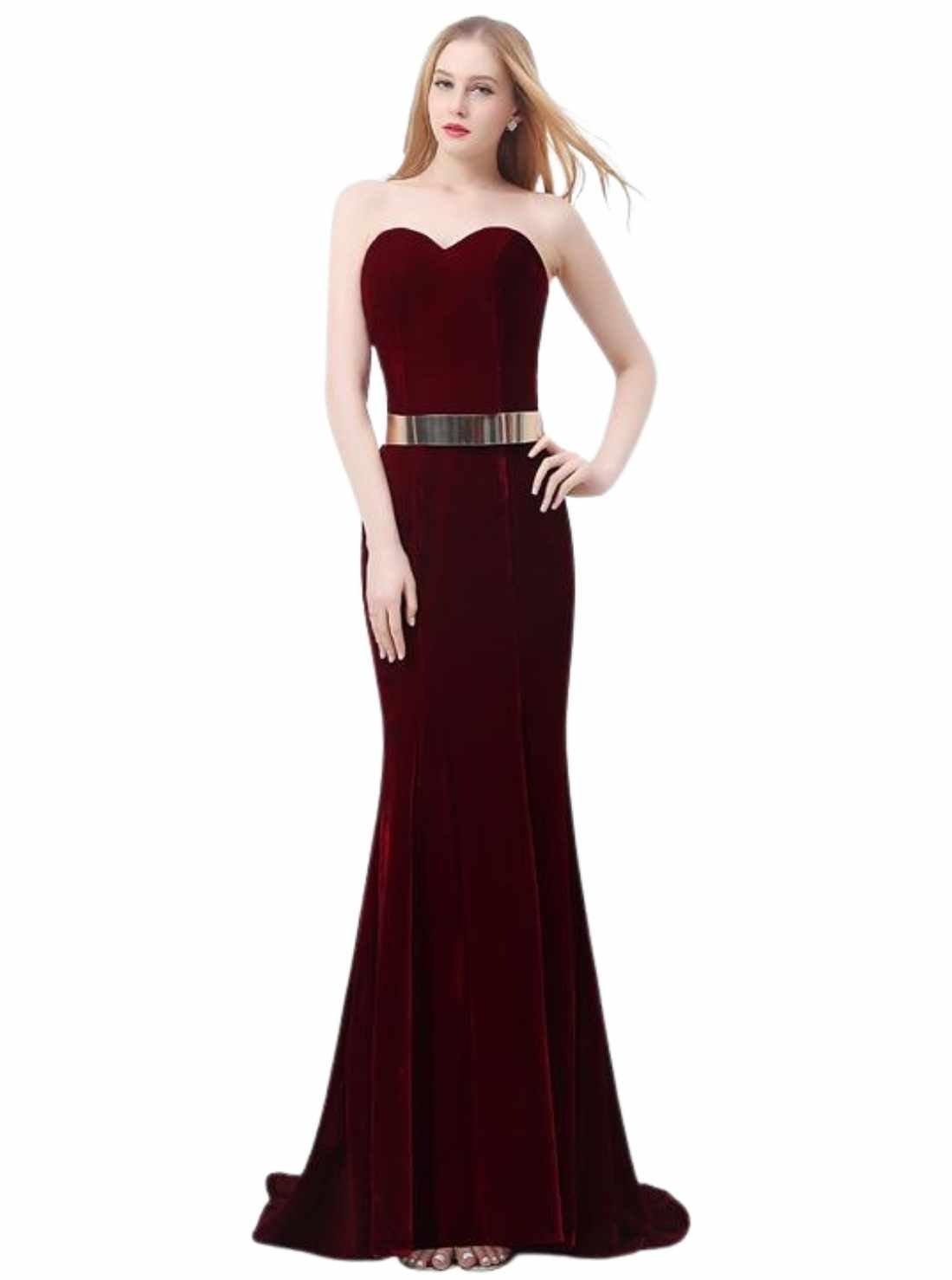 Evening Dress Velvet slim Prom Dress Tube