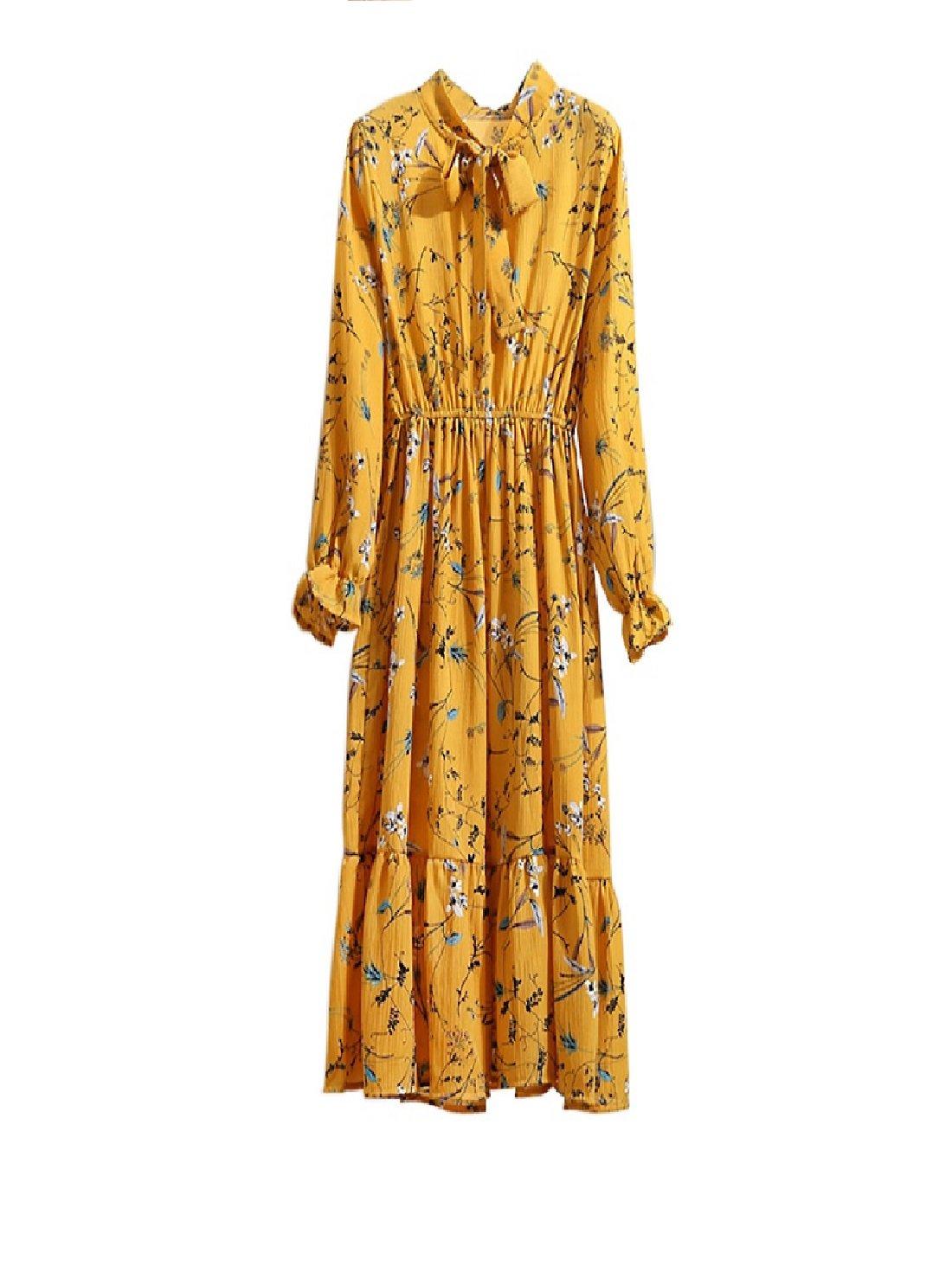 Floral Printing Chiffon Dress Summer Women Long