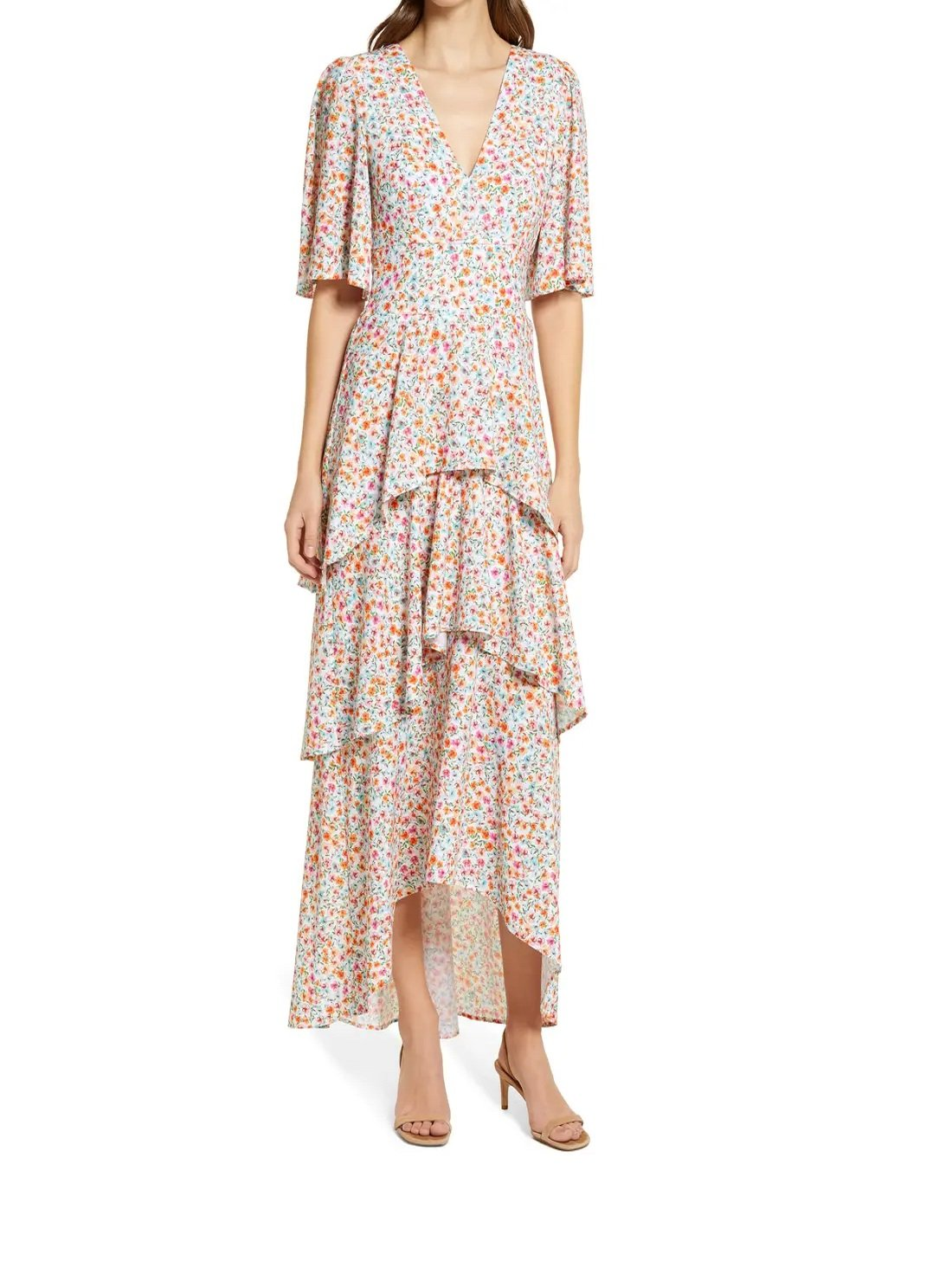 Floral Tiered High-Low Maxi Dress