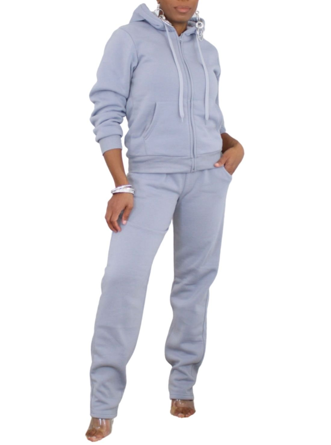 Fur Lined Zip Up Joggers Sets
