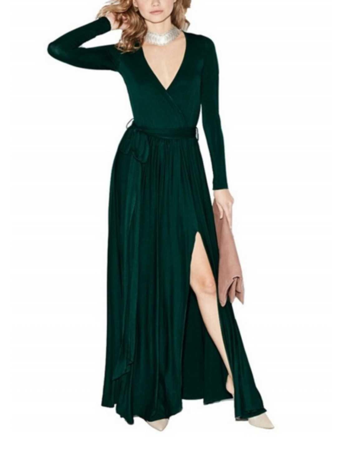 Long Sleeve V-Neck Maxi Dress