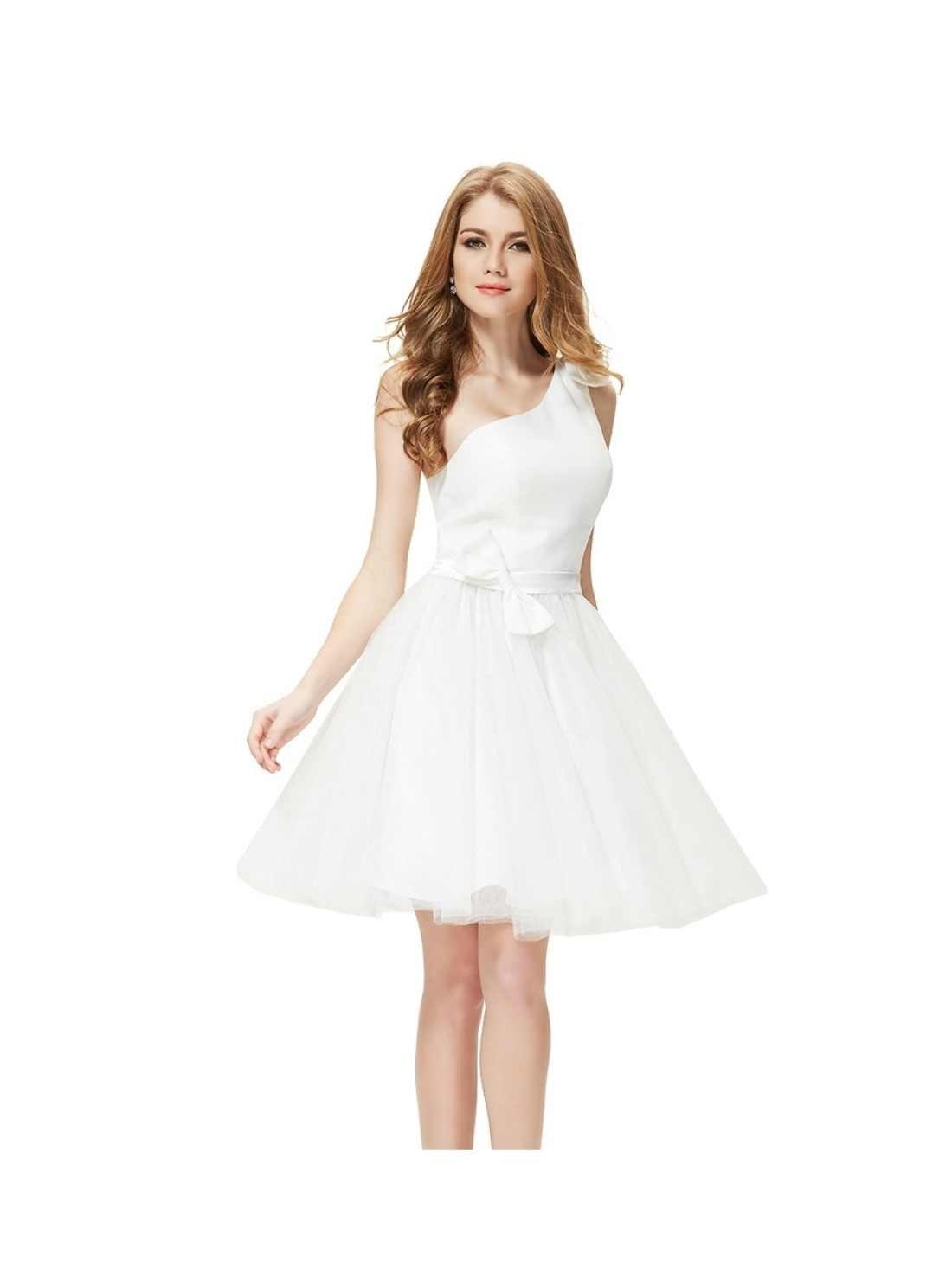 One Shoulder White Cocktail Dress