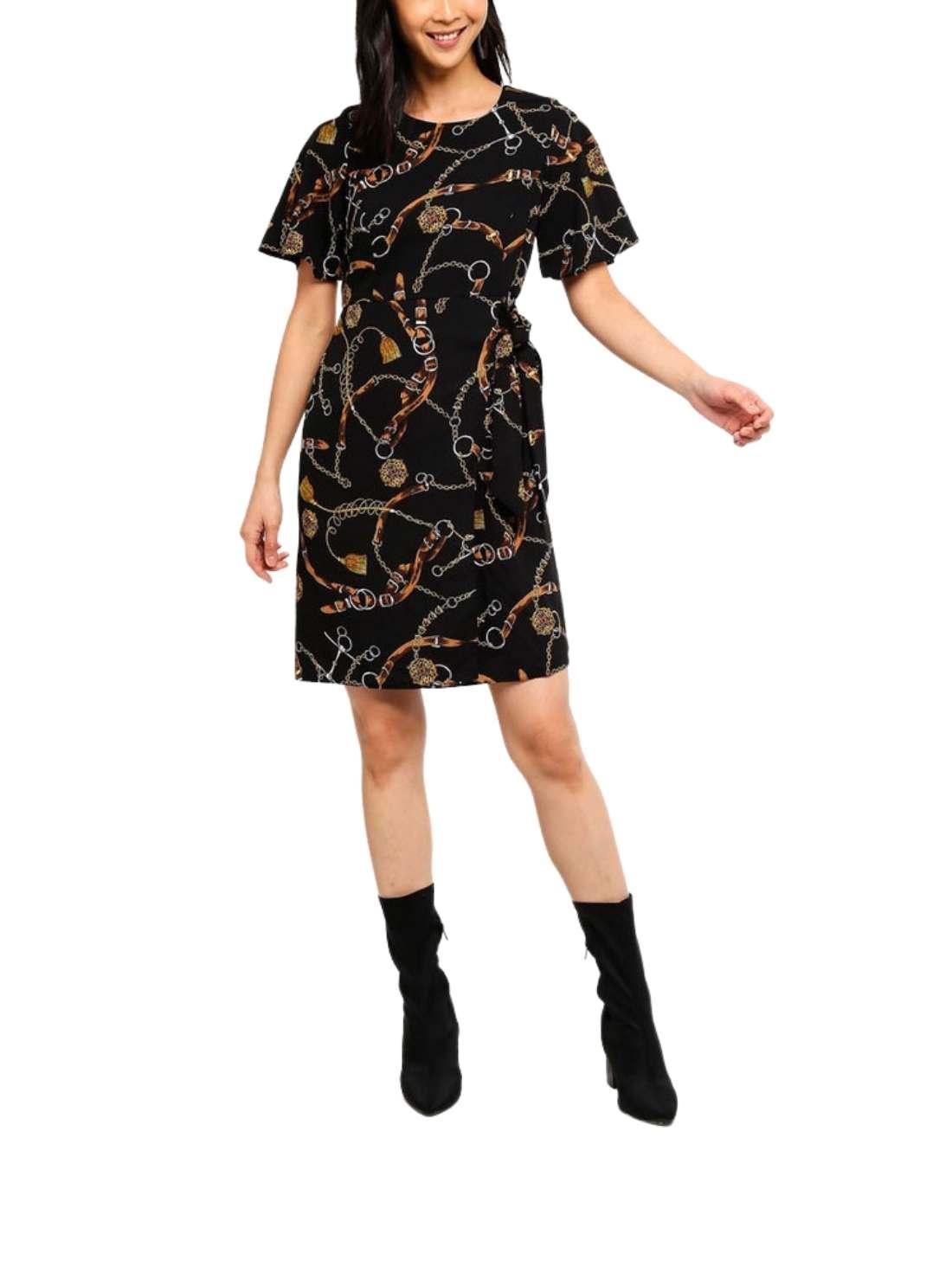 Petite Belt Print Tie Dress
