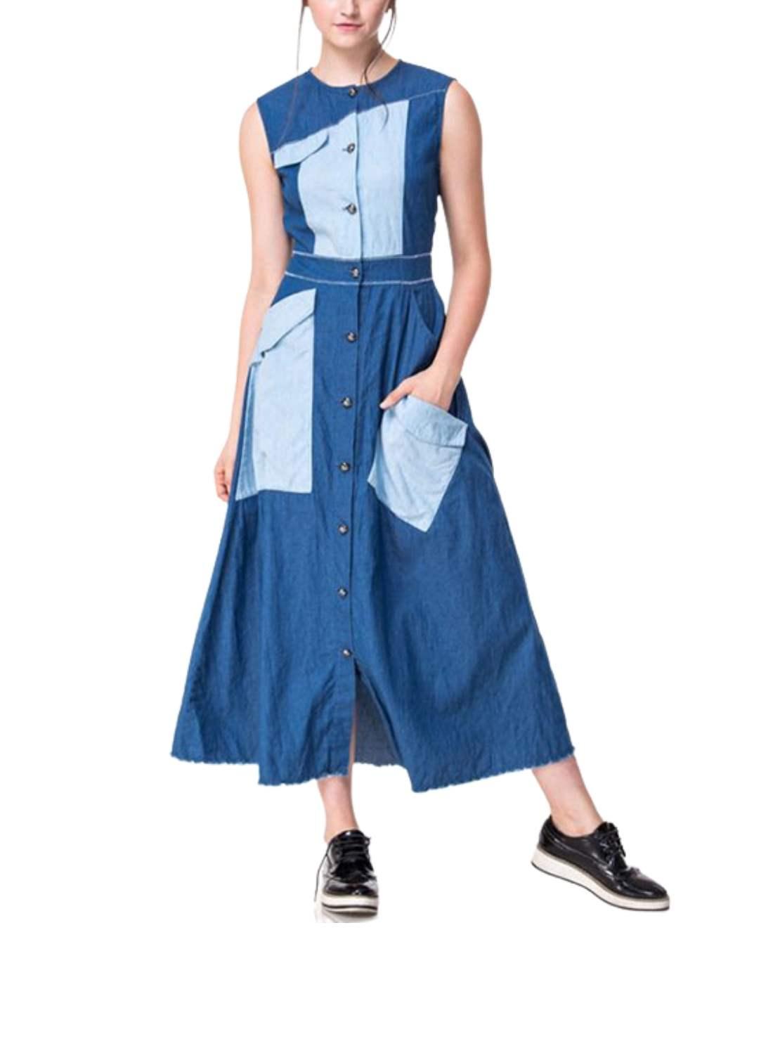 Petite Round Neck Maxi Dress