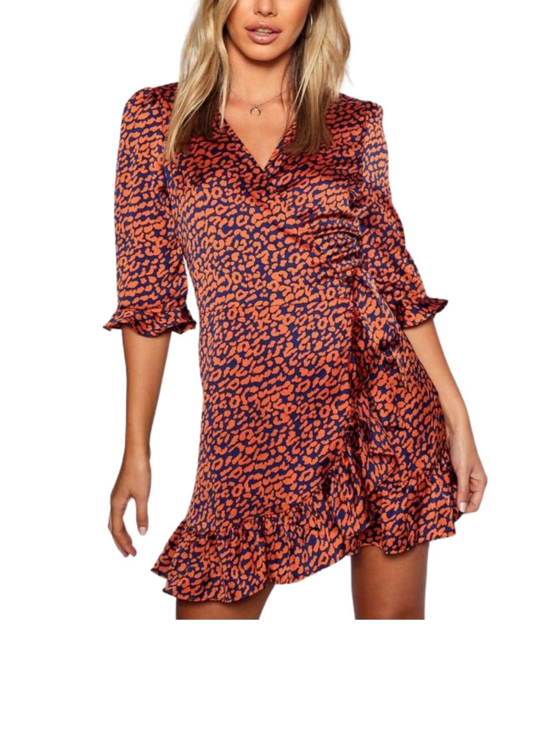 Petite Satin Leopard Print Dress