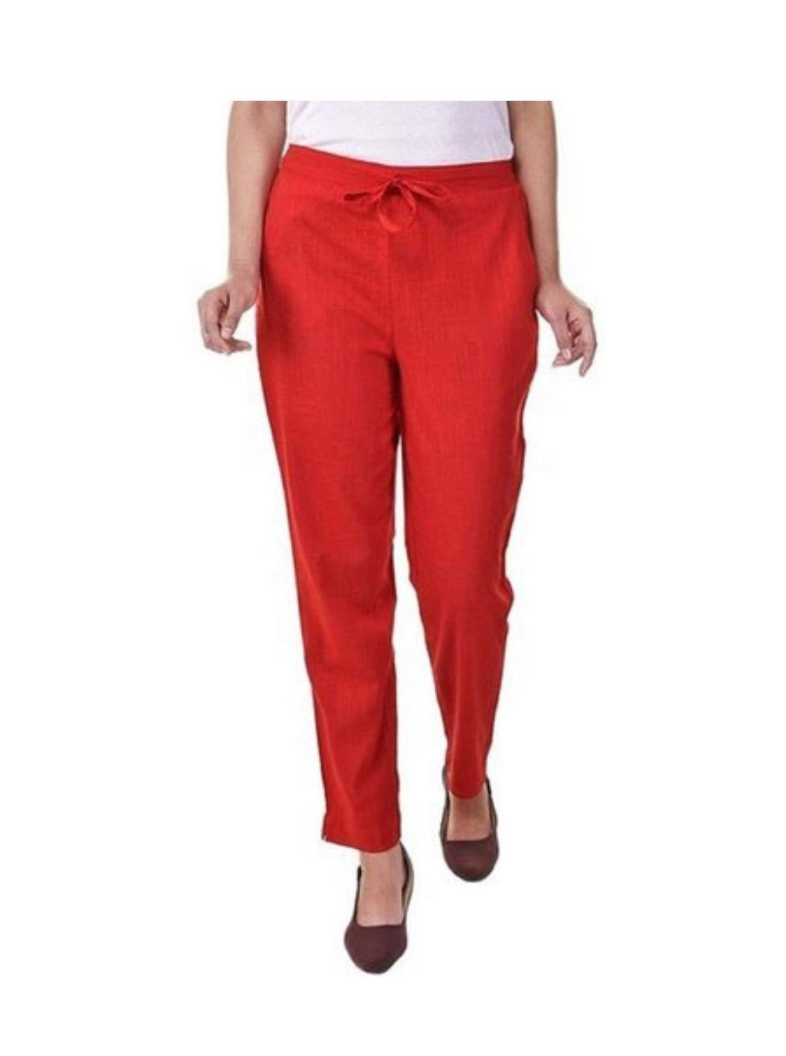 Plain Red Cotton Pants