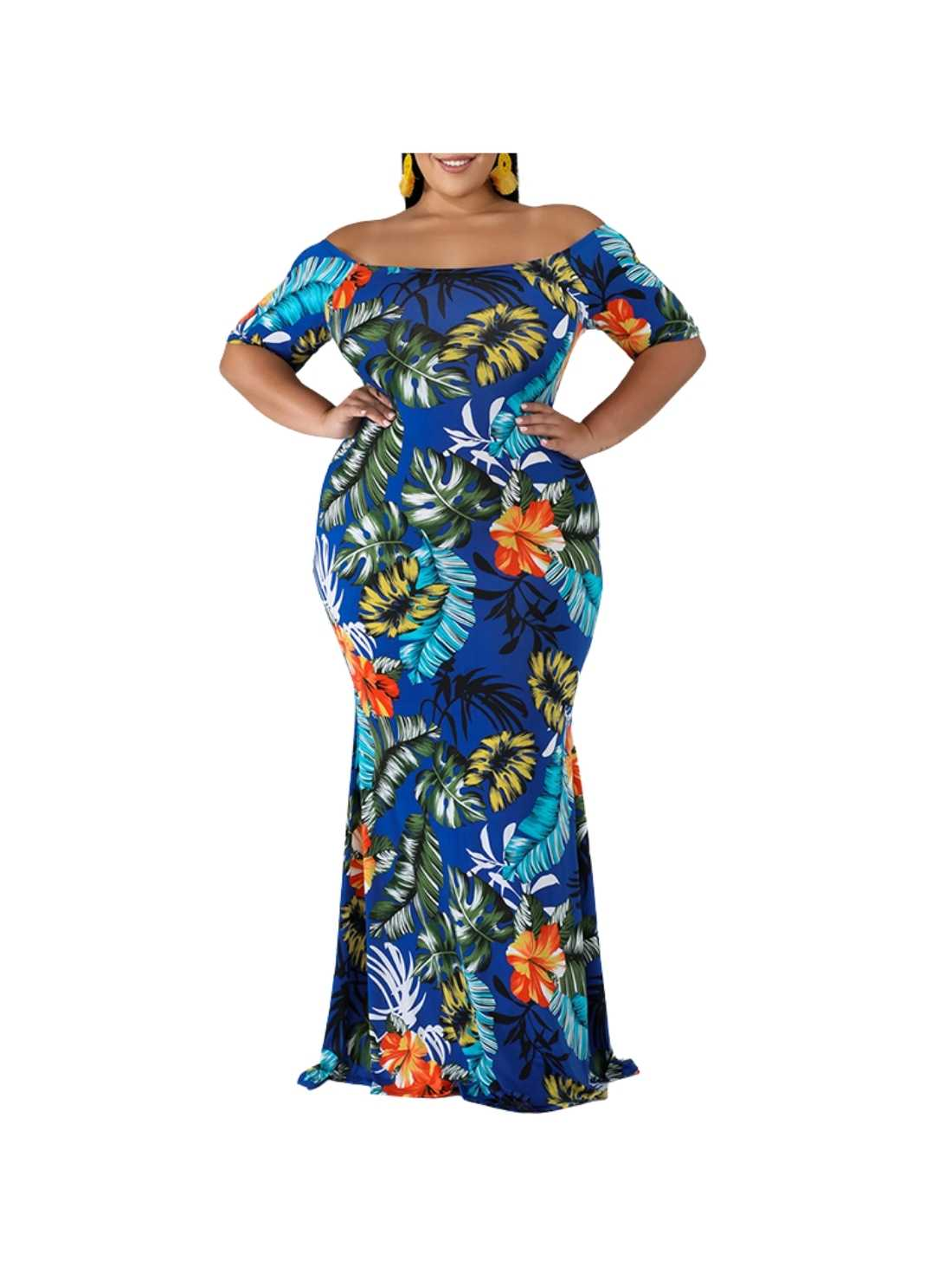 Plus Size Floral Off-Shoulder Dress