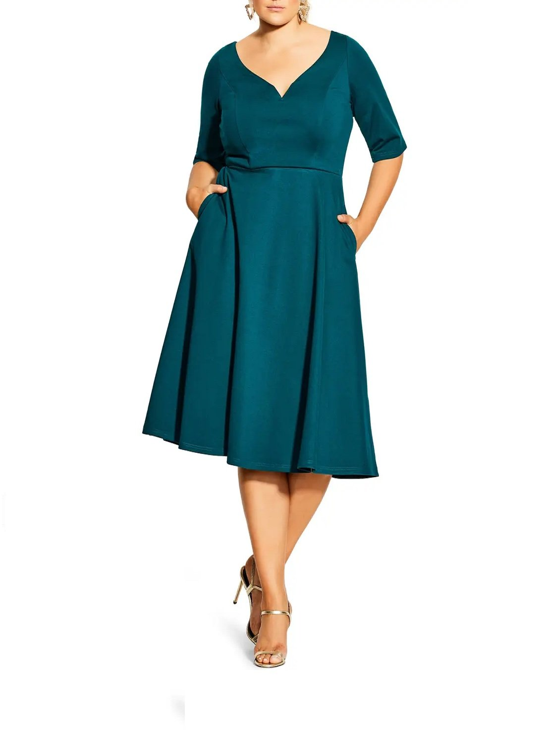 Plus Size Sweetheart Neck Fit & Flare Dress