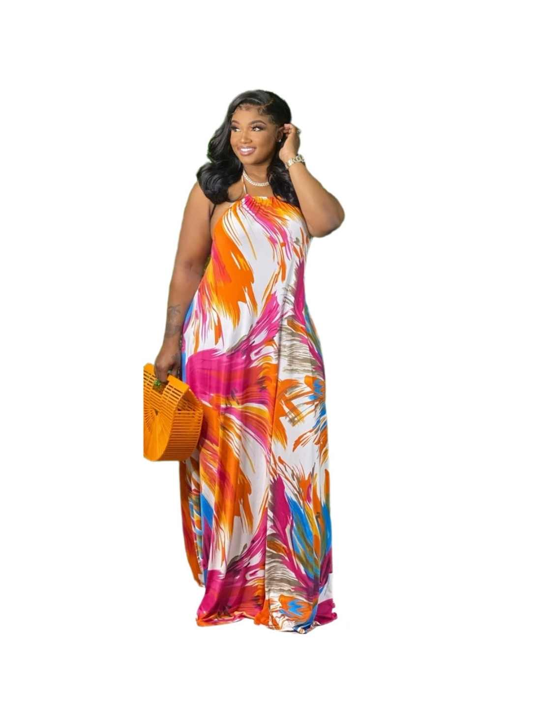 Printed Loose Plus Size Two-Piece Dress