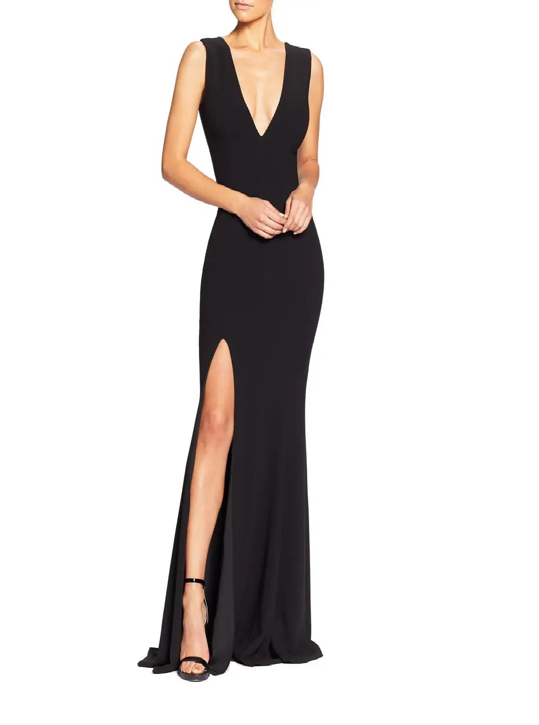 Plunge Crepe Trumpet Gown