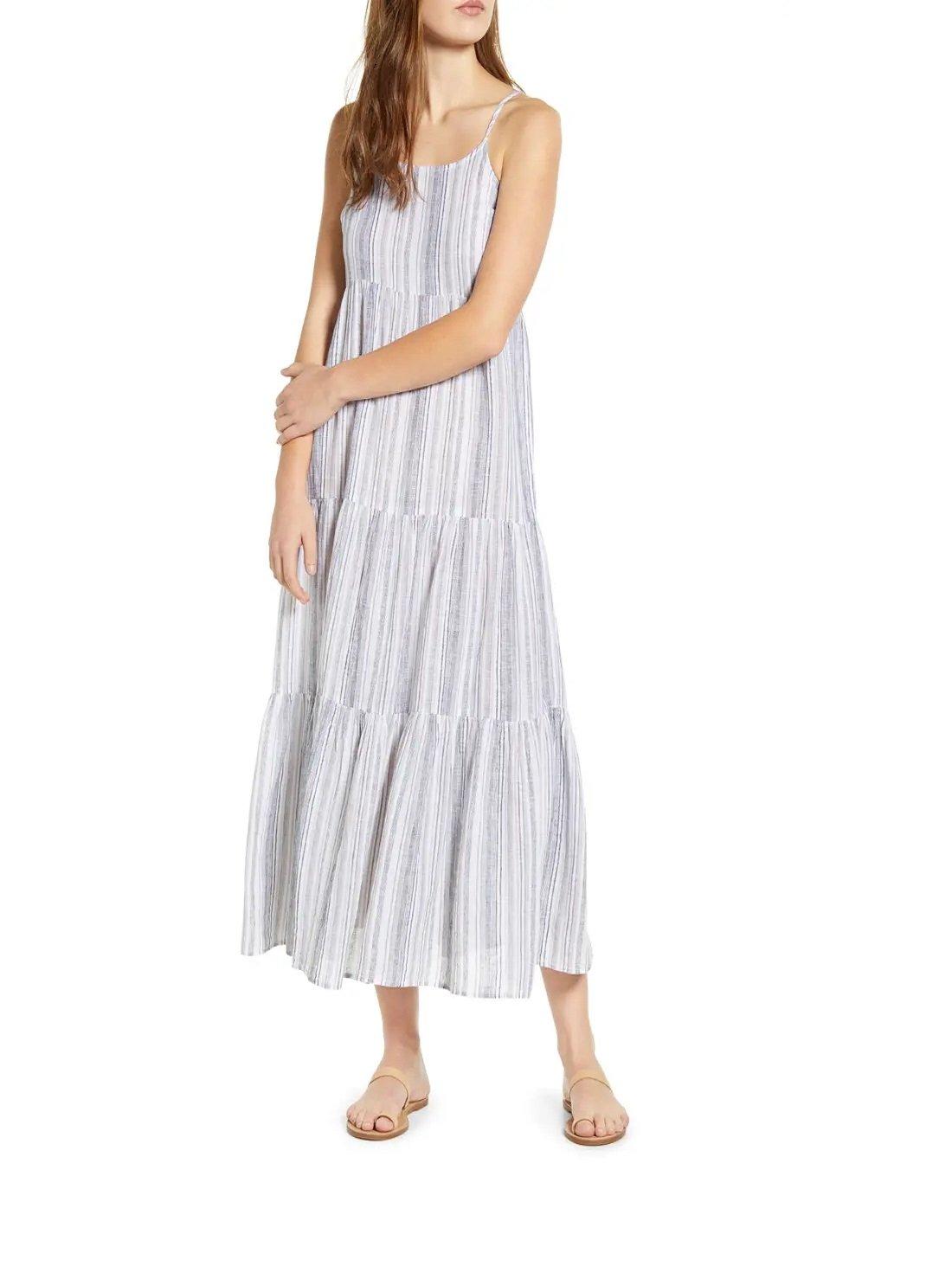 Stripe Linen & Cotton Tiered Midi Sundress
