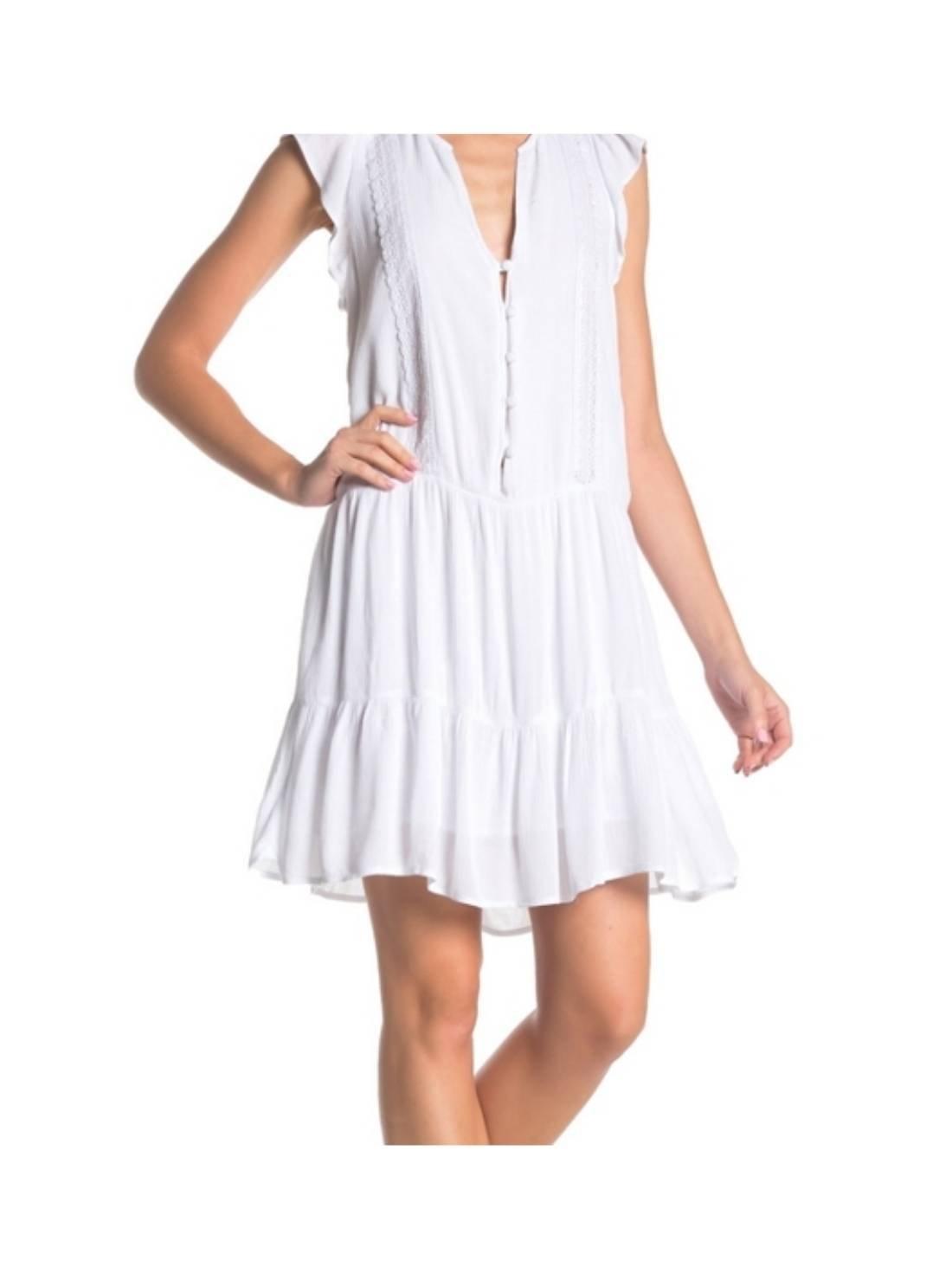 Tiered White Shift Dress