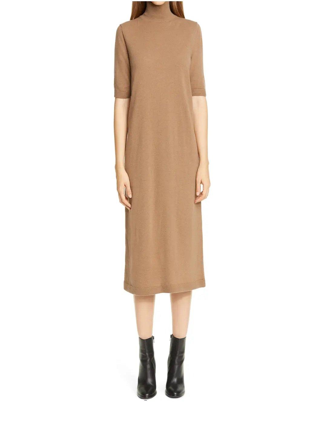 Turtleneck Wool & Cashmere Midi Sweater Dress