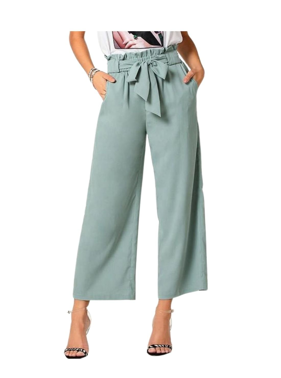 Waisted Wide Leg Trousers
