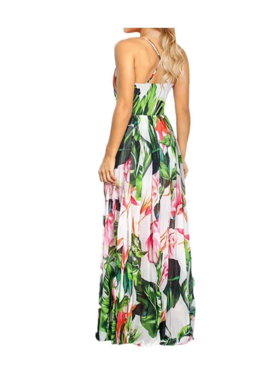 Female Fashion Floral Print Ladies Maxi Dresses Long