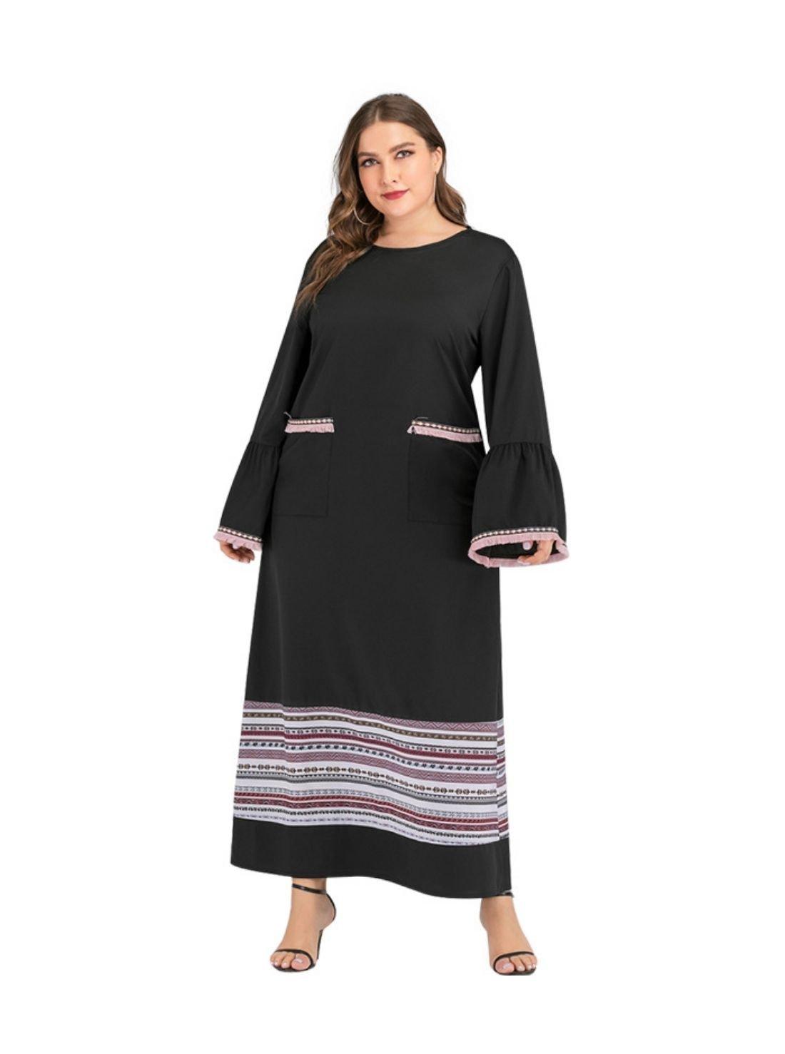 Ethnic Style Stripe Maxi Dress for Women