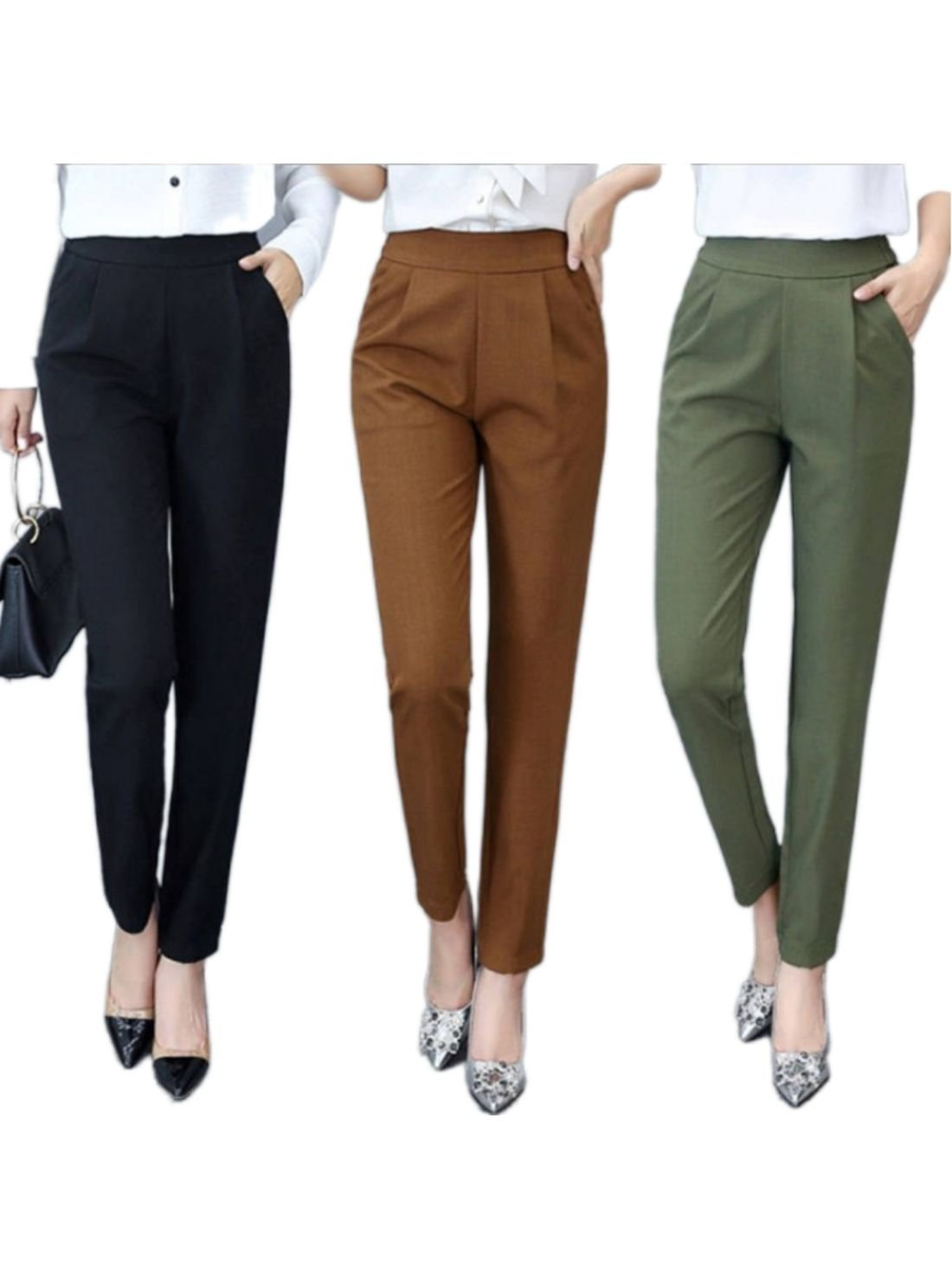 Hot sale fashion high waist straight leg trousers office ladies suit pants casual trousers