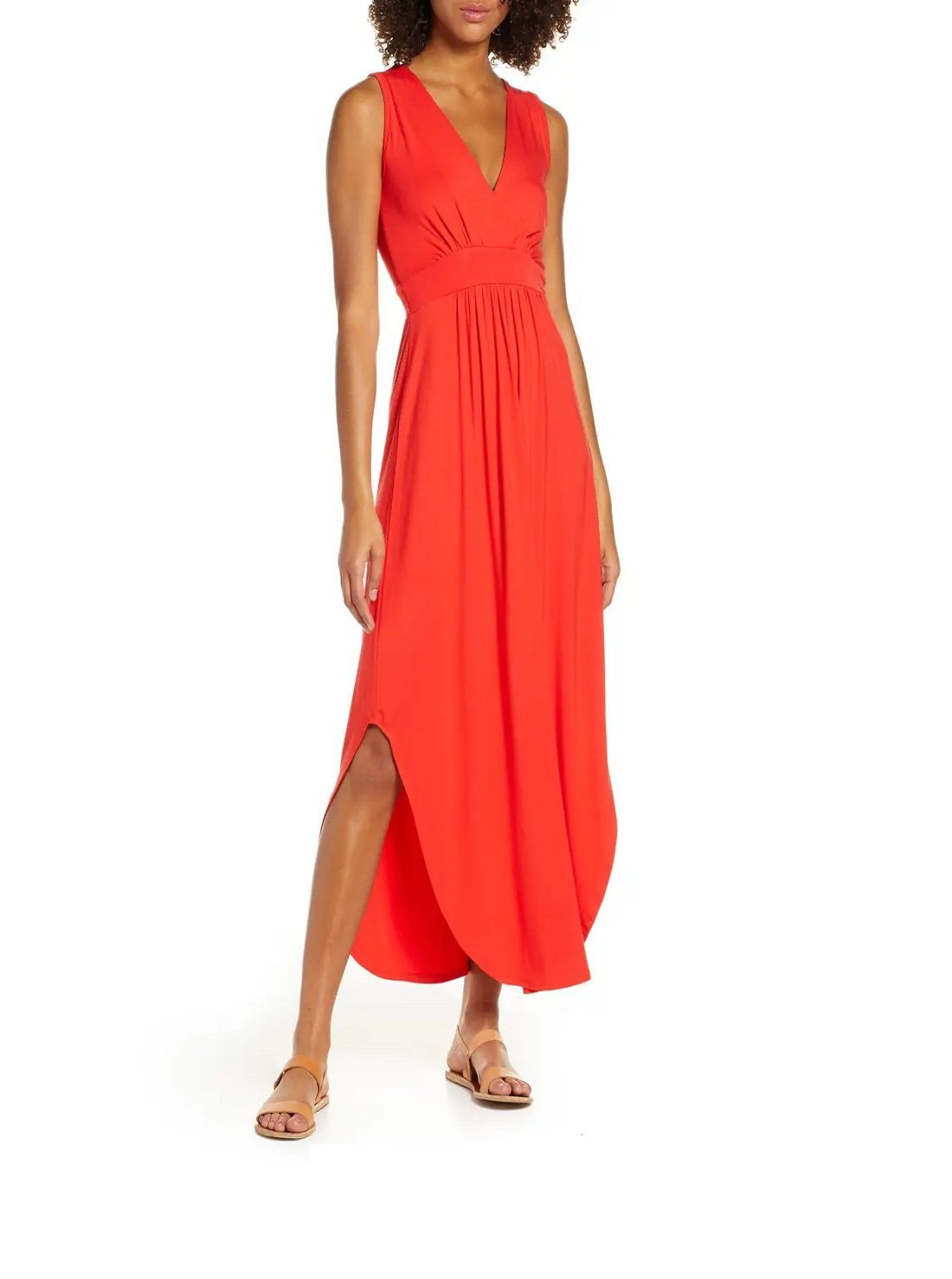 V-Neck Jersey Maxi Dress
