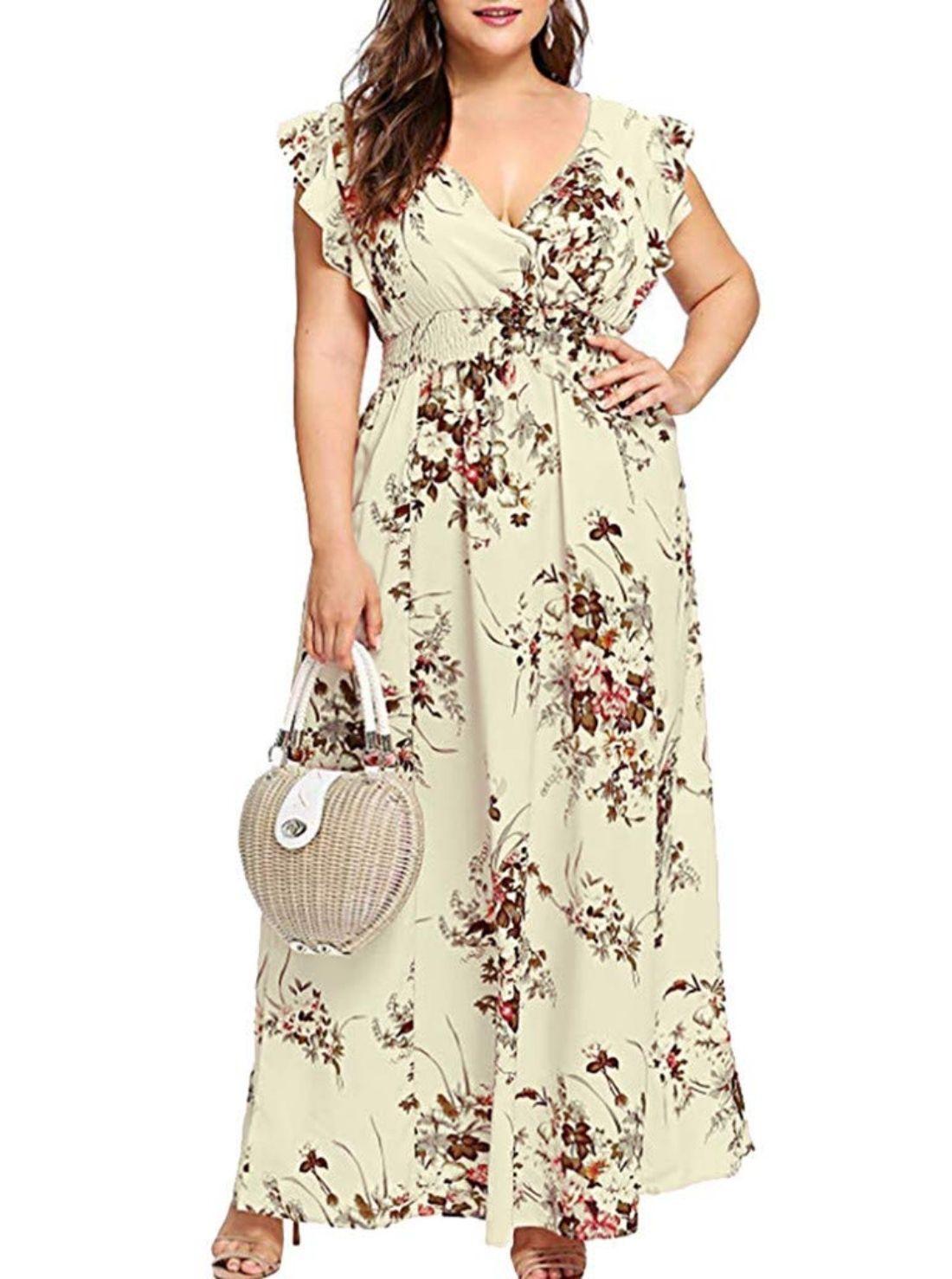 V-Neck Plus Size Western Dresses