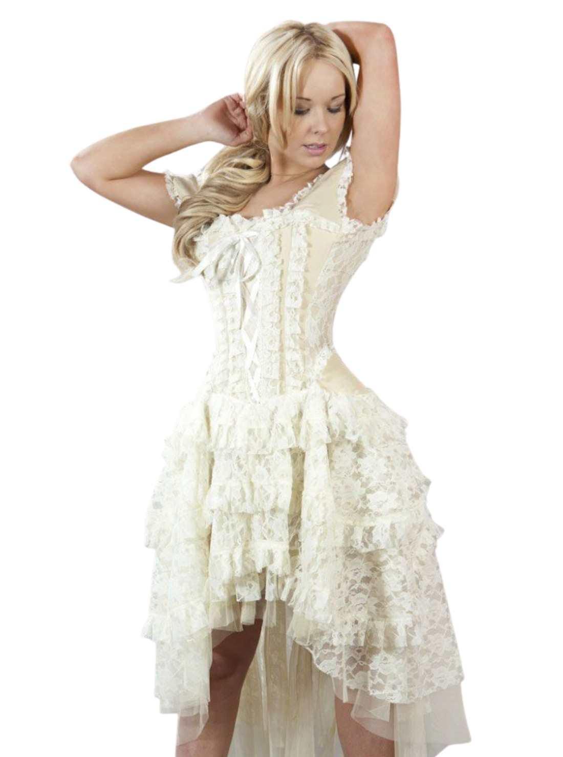 Vintage Corset Dress in Cream Taffeta