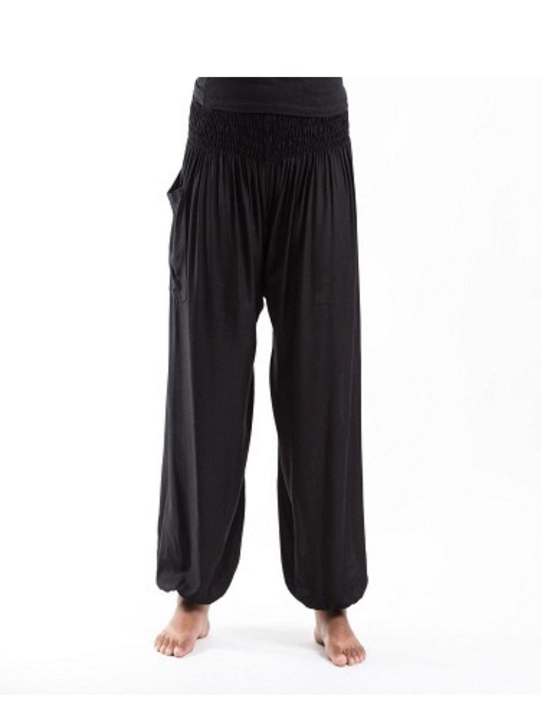 Wholesale Black Rayon Plain Harem Pants