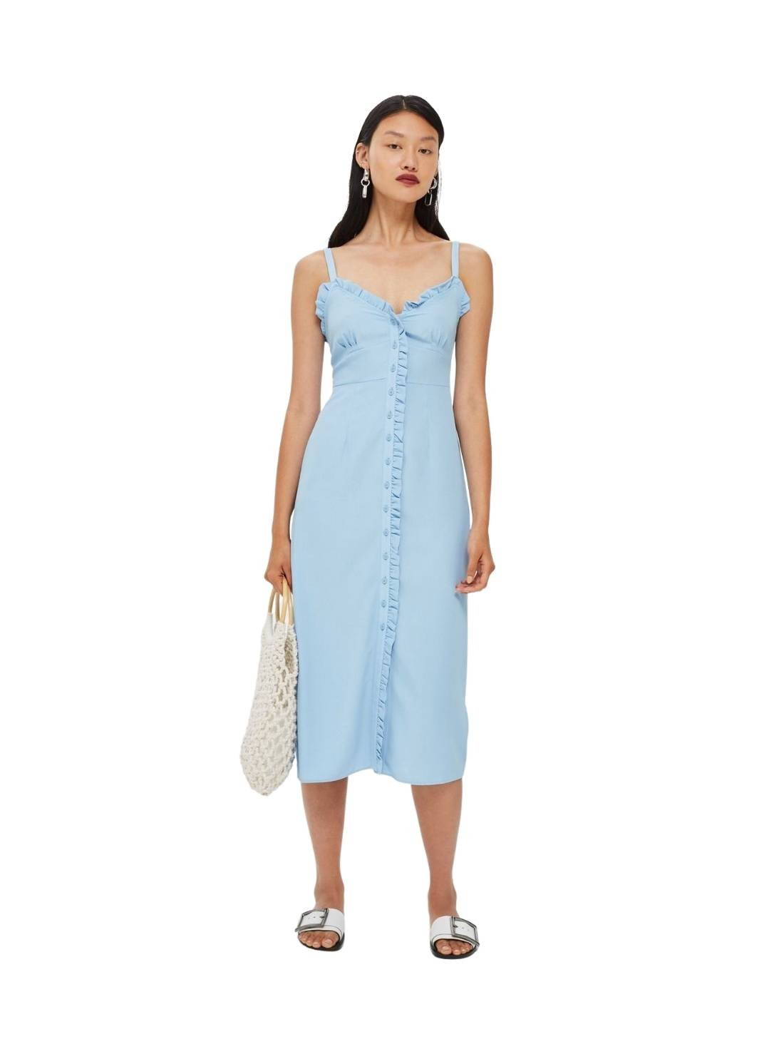Wholesale Denim Ruffle Midi Slip Dresses