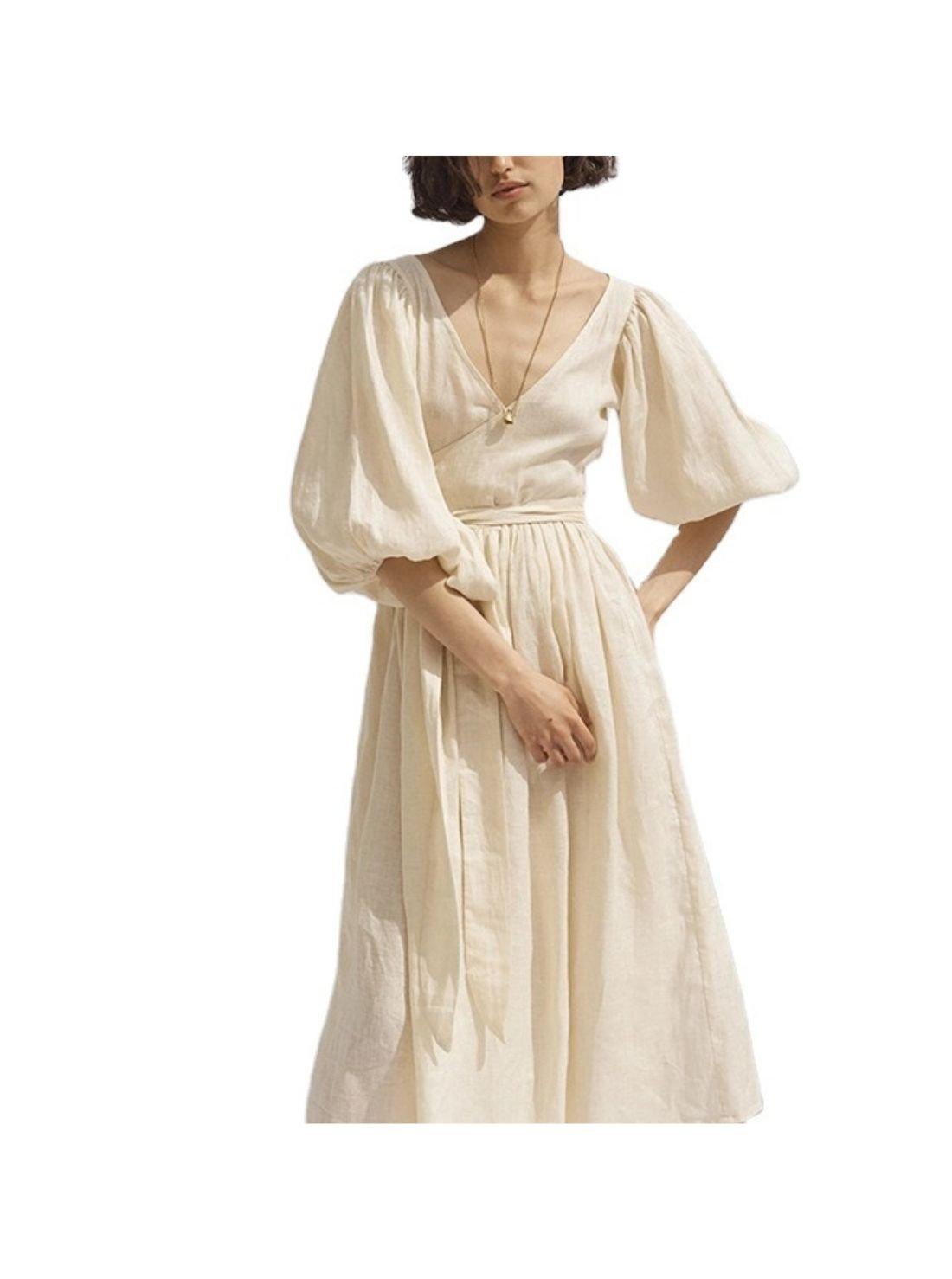 Wholesale High Waist Deep V-Neck Long Linen Dress