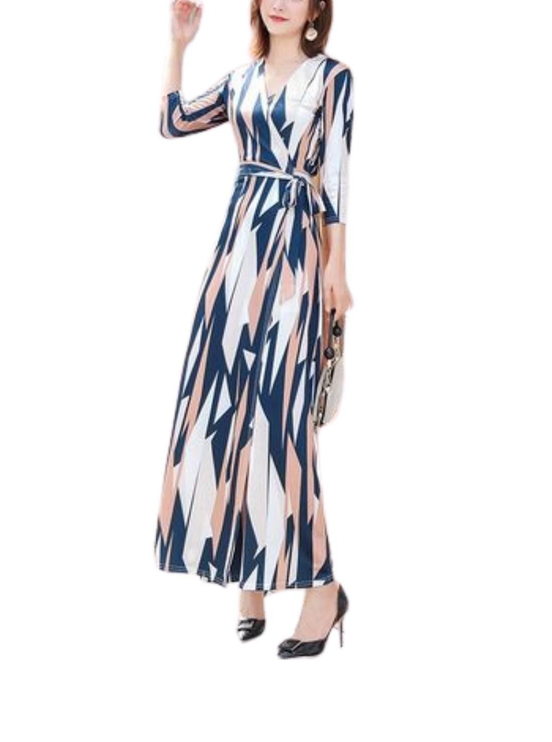 Wholesale Korean Style Slim V-neck Tie Wrap Dress