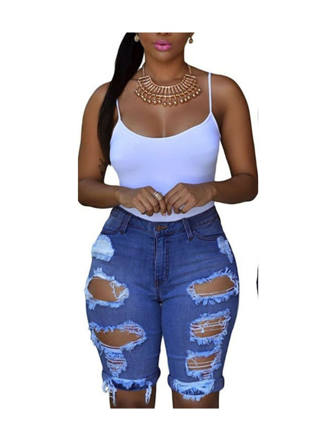 Wholesale Ladies' High Waist Ripped Jeans