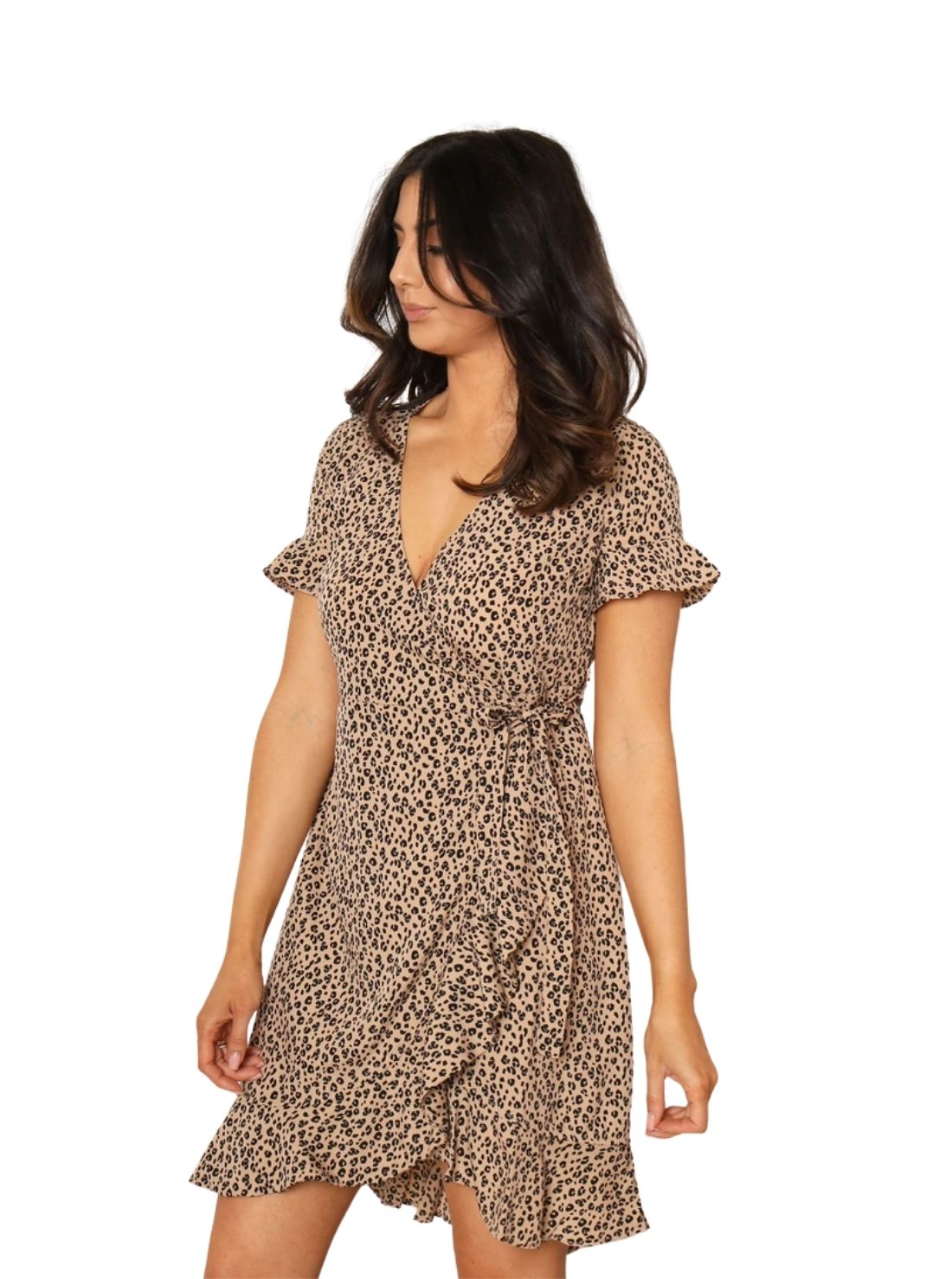 Wholesale Leopard Mini Wrap Dresses.