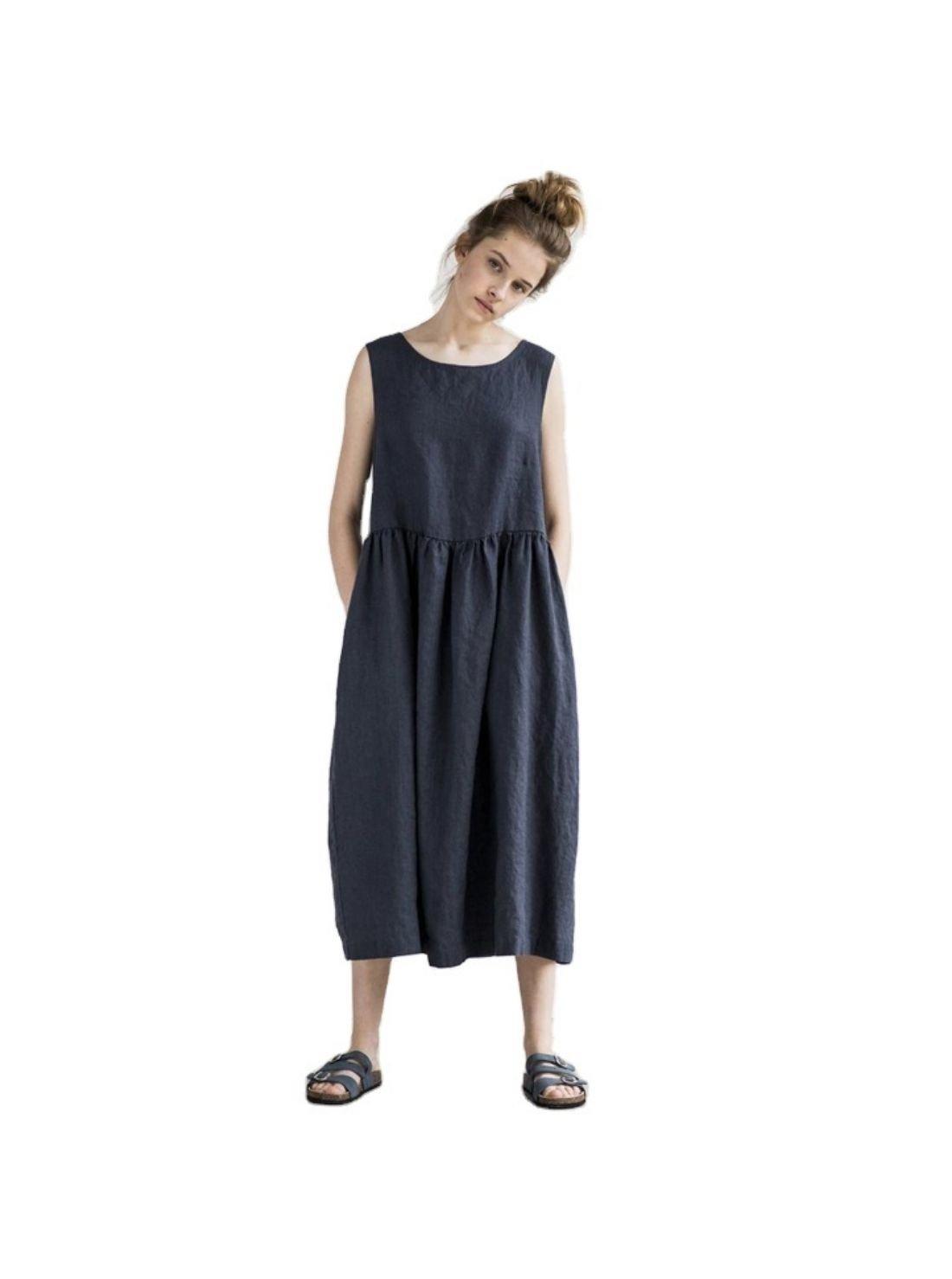 Wholesale Linen Loose Waist Mid-length Dress