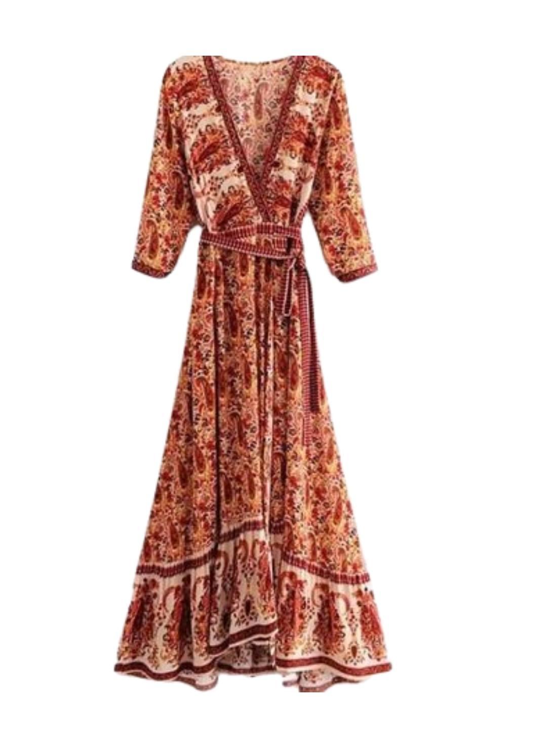 Wholesale Paisley Print Wrap Dresses.
