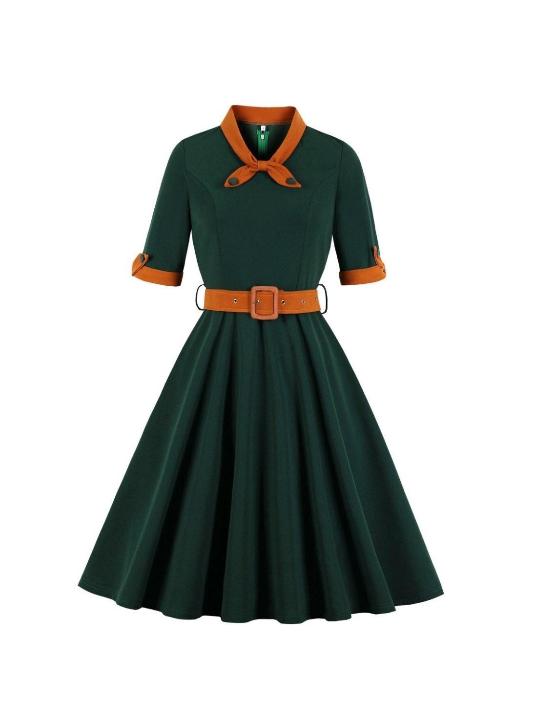 Wholesale Plus-size Half Sleeve Hepburn Vintage Dress with Belt