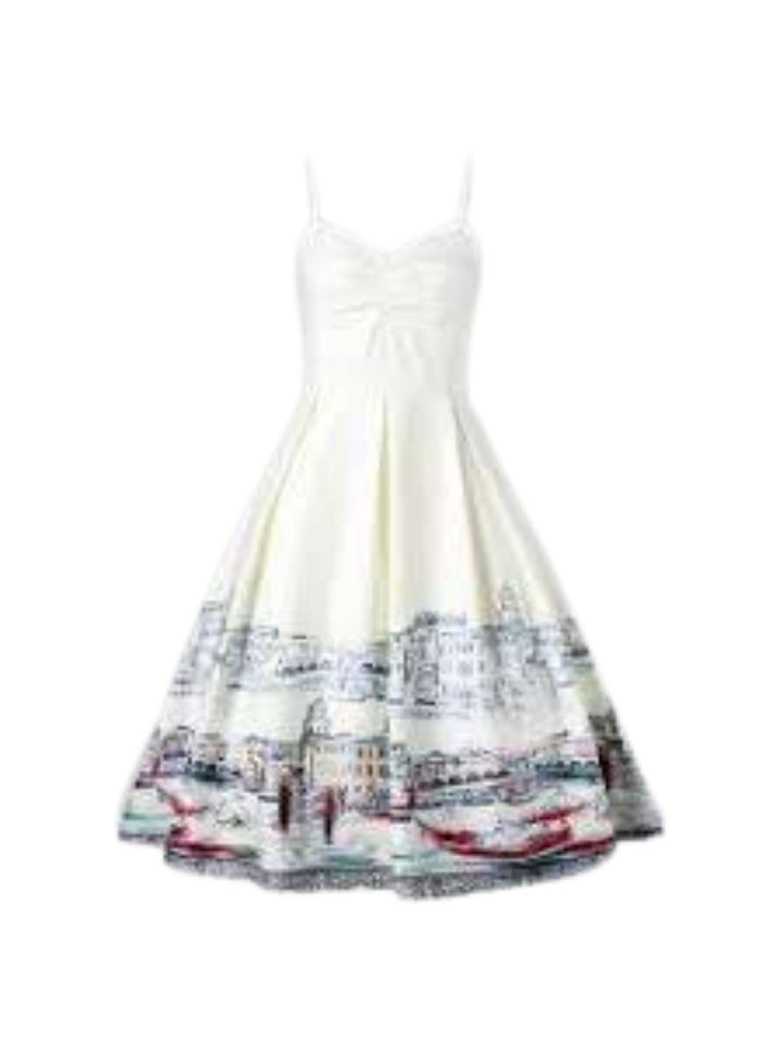 Wholesale Print Ruched Box Pleated Flare Slip Dresses