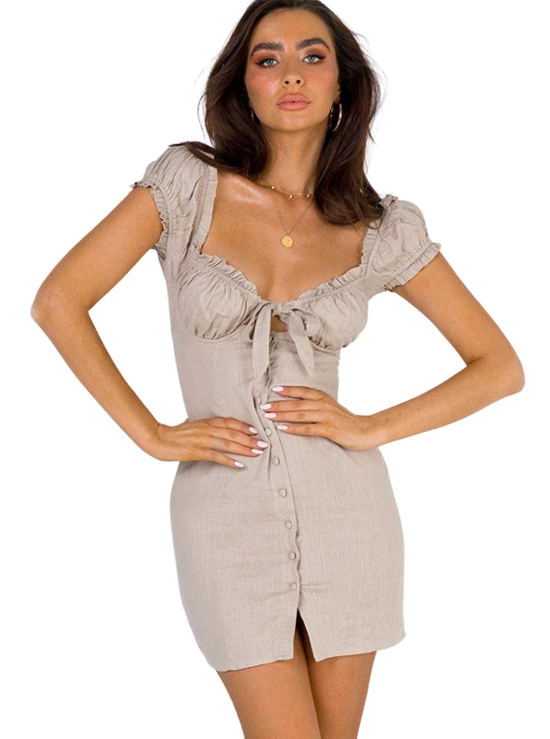 Wholesale Puff Sleeve Cotton Dress