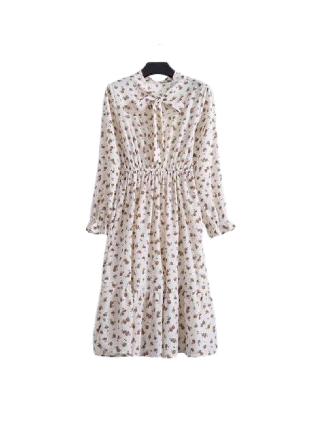 Wholesale Rose Print Long Sleeve Shift Dresses
