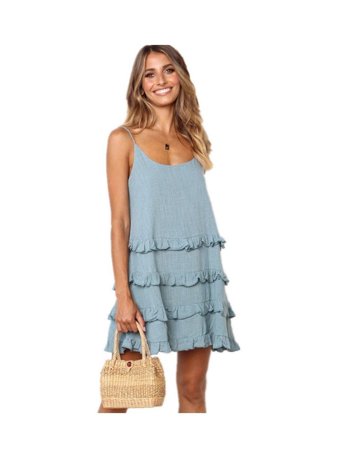 Wholesale Sleeveless Linen Ruffles Mini Dress