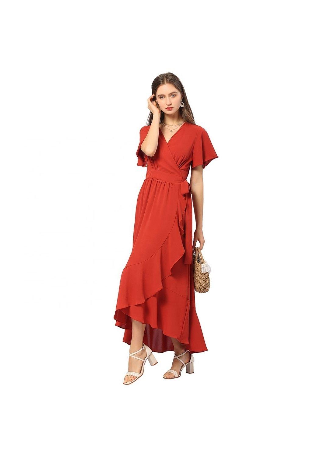 Wholesale Summer Vintage Ladies Red V Neck Dresses