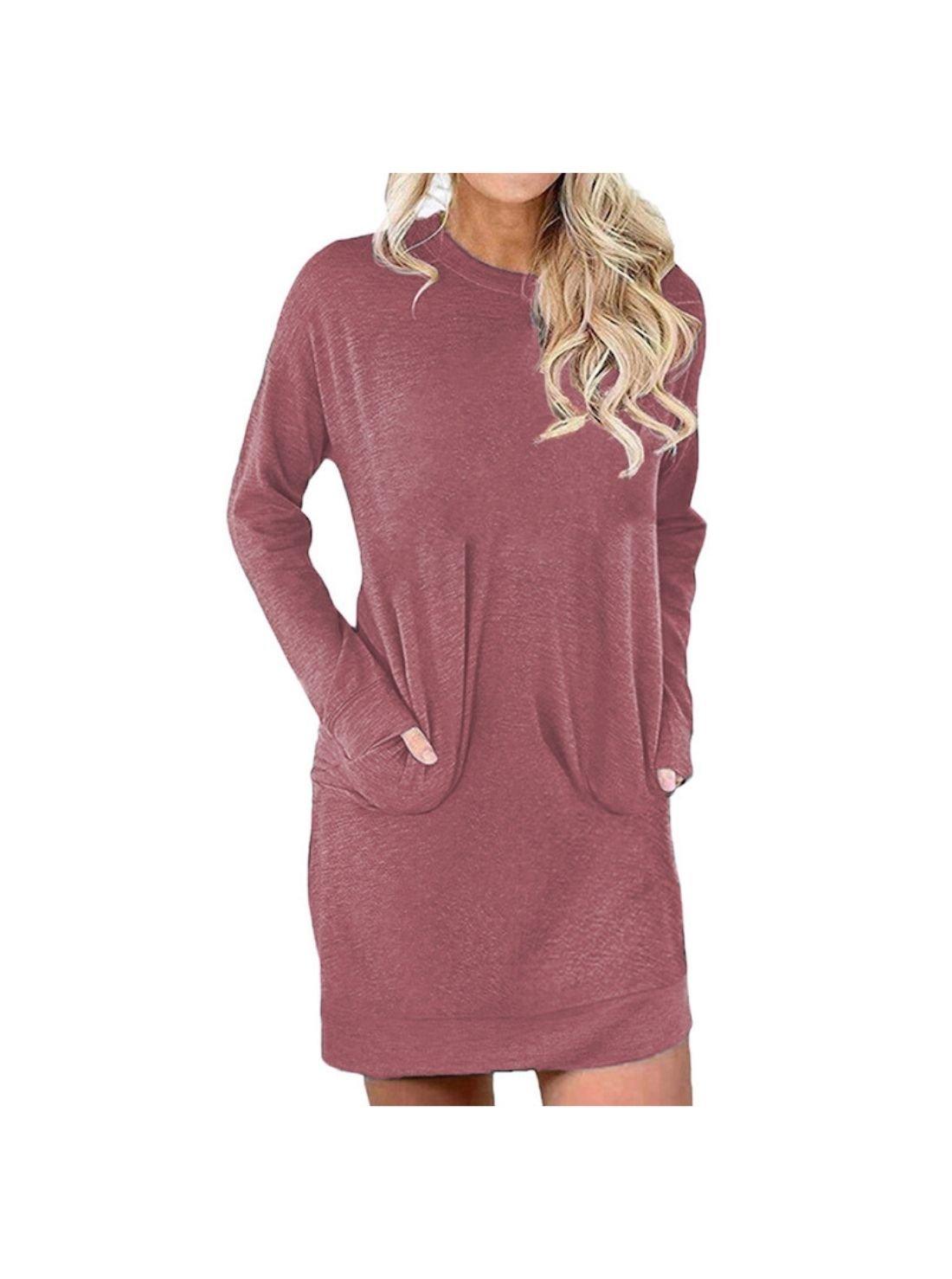 Wholesale Sweater Linen Solid Color Winter Dresses