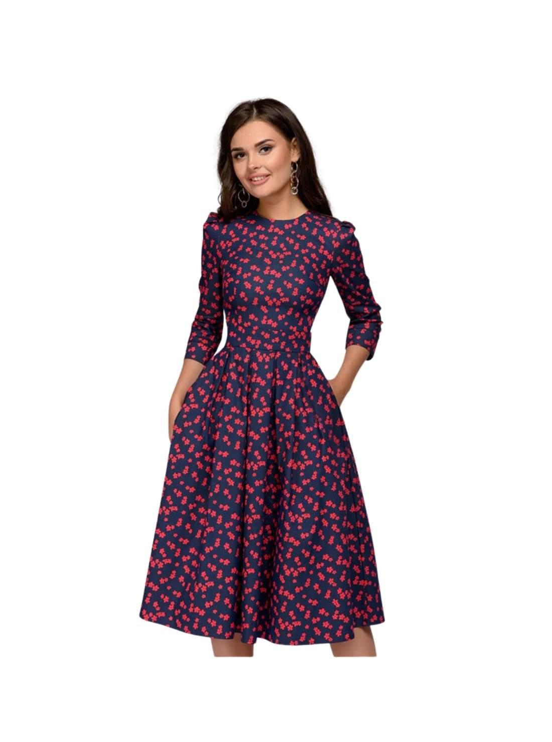Wholesale Three Quarter Sleeve Floral Vintage Party Dresses