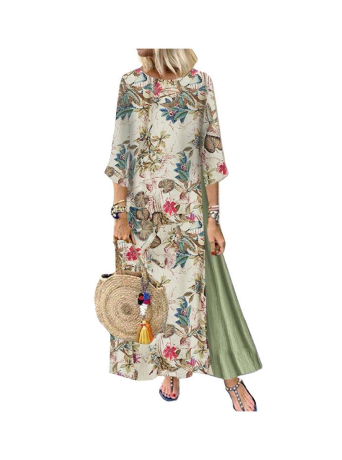 Wholesale Vintage Floral Round Neck Dress