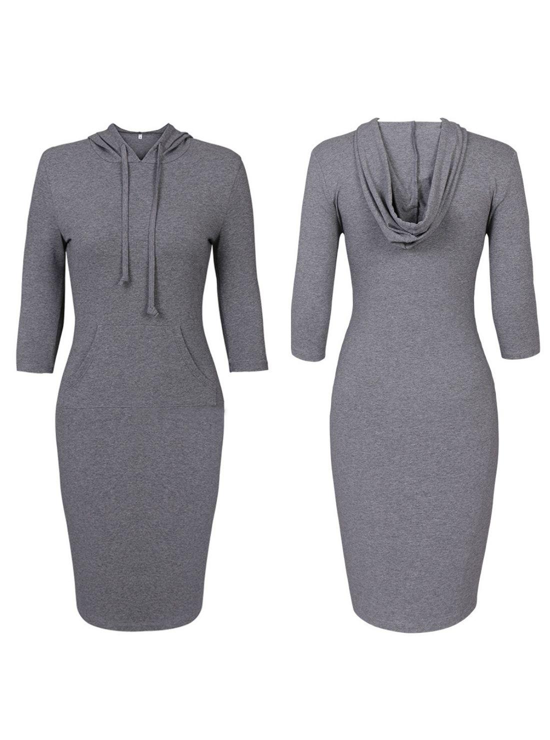 Wholesale Winter Ladies Long Hooded Velvet Jumper Dress