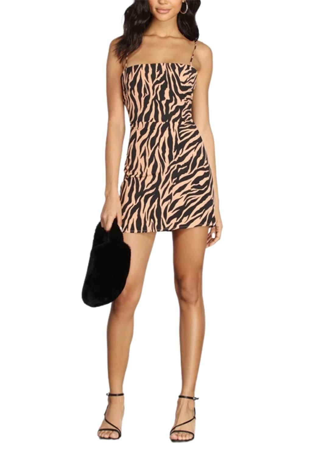 Wholesale Women Zebra Print Satin Slip Dresses