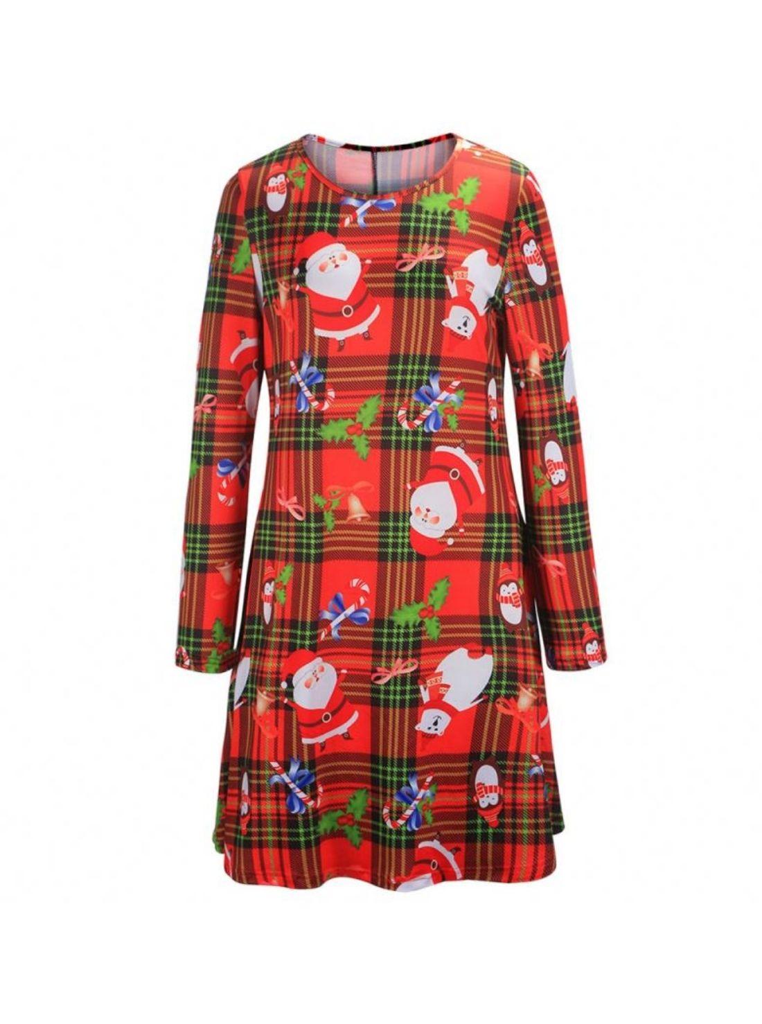 Wholesale Women's Christmas Long Sleeve Skater Dress